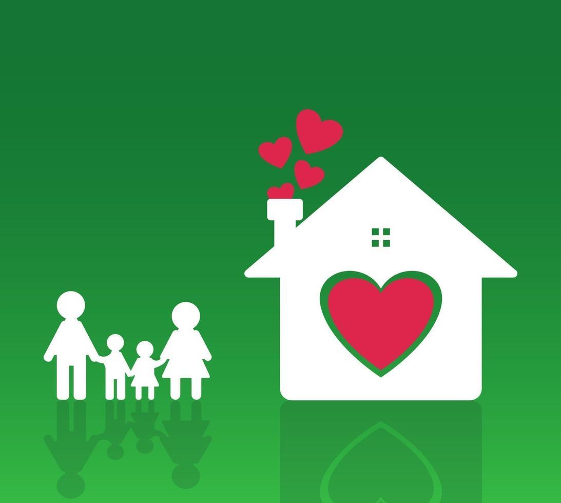 icône de famille heureuse à la maison vecteur
