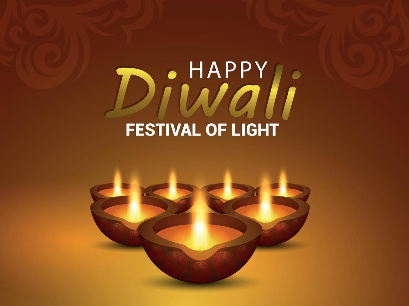 carte de voeux joyeux diwali célébration avec illustration vectorielle créative de diya vecteur