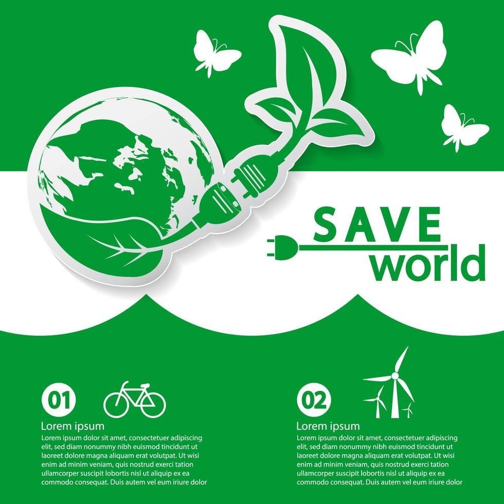 monde avec modèle de bannière de concept écologique vecteur