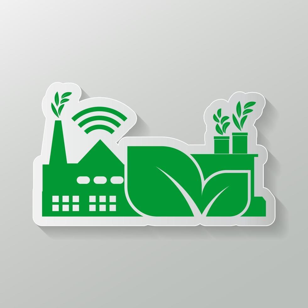 Icône de l'industrie, énergie propre avec concept écologique vecteur