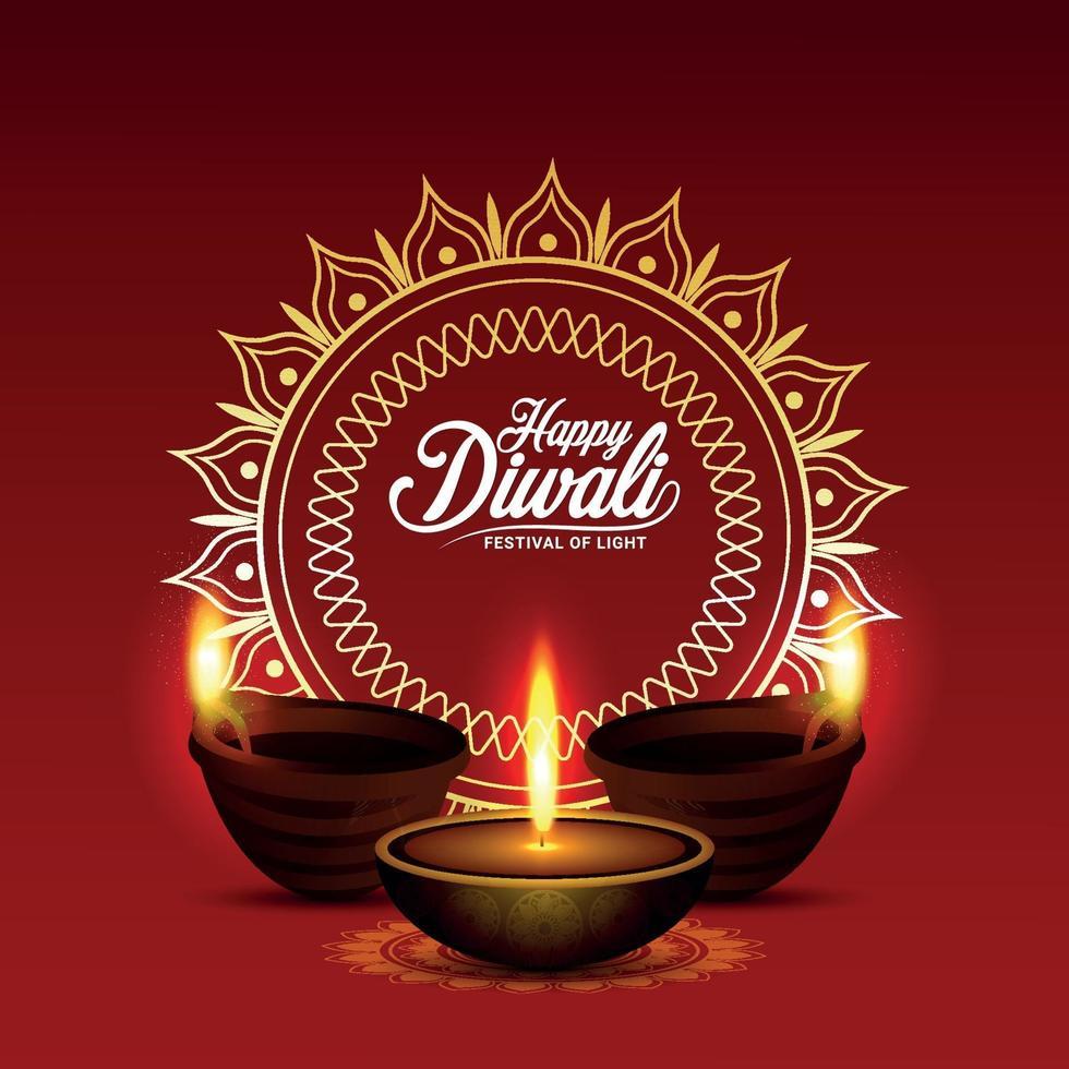 le festival de la lumière joyeux diwali, carte de voeux d'invitation vecteur