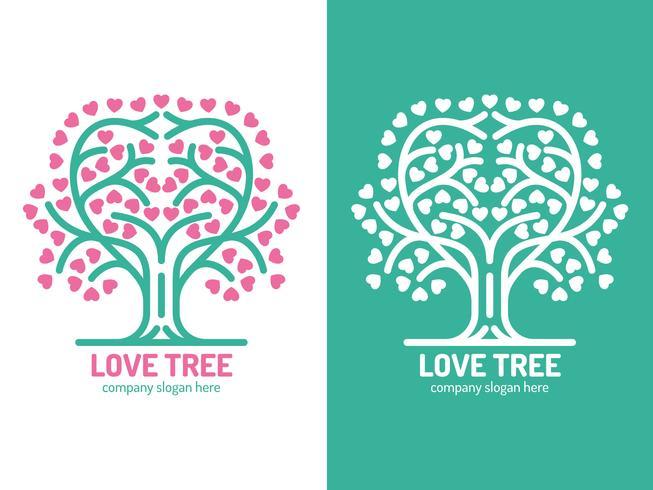 Éléments uniques de logo d'arbre vecteur