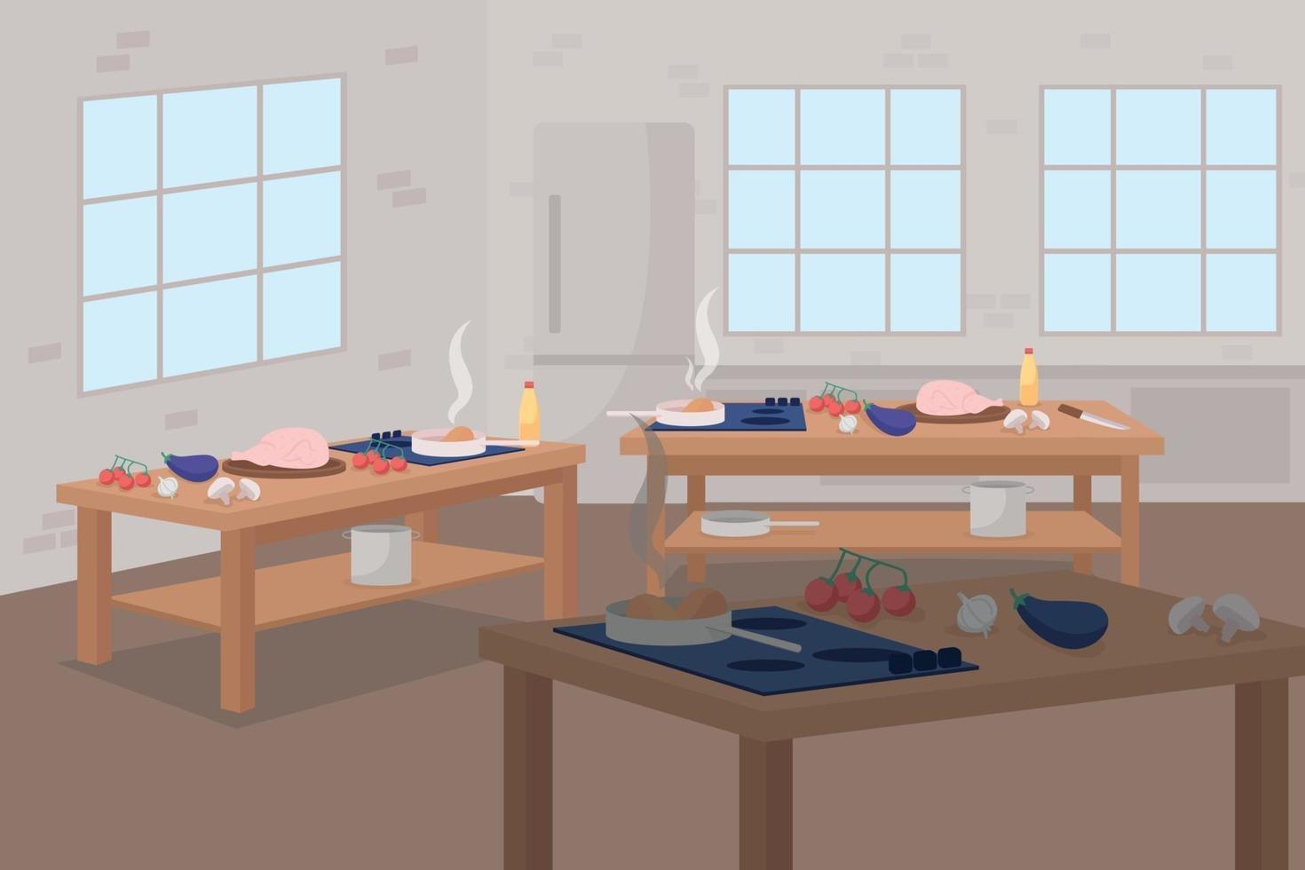 illustration vectorielle de classe de maître culinaire couleur plat vecteur