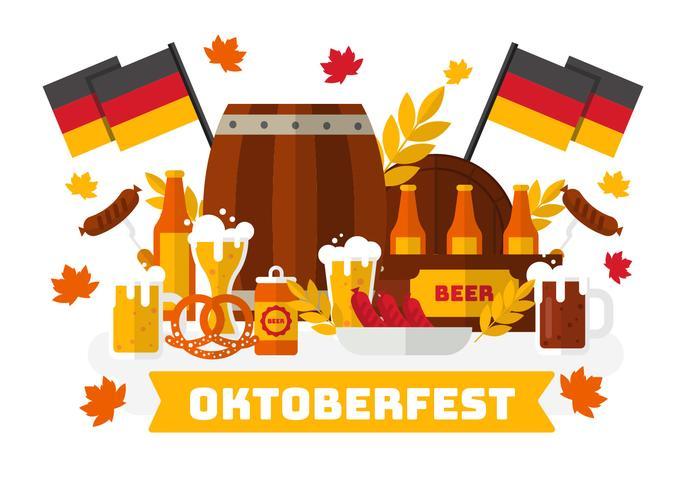 Oktoberfest avec le vecteur de la nourriture bavaroise.