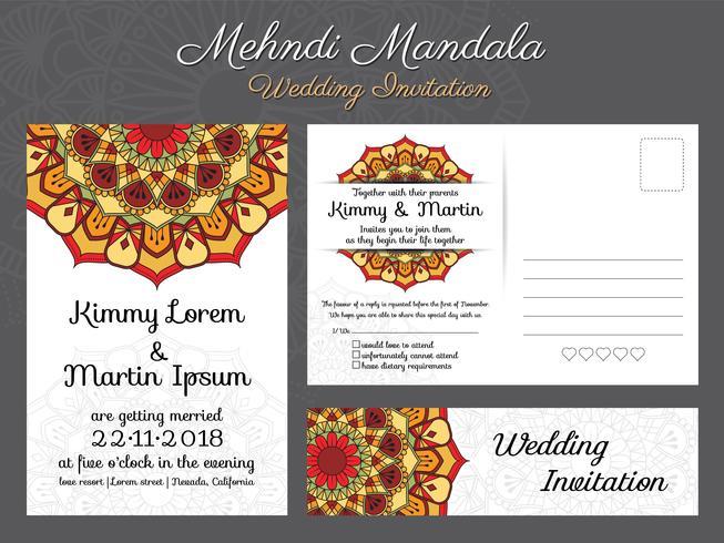 Design de carte d'invitation de mariage vintage classique avec belle Ma vecteur