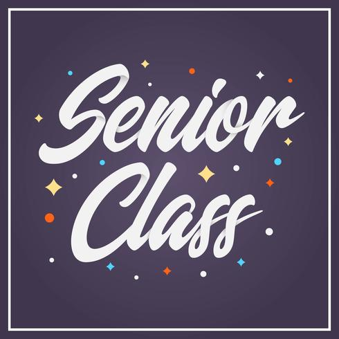 Flat Senior Class Lettering Illustration vectorielle de typographie vecteur