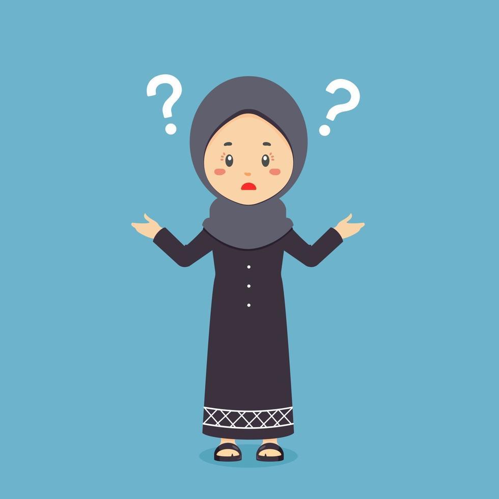 musulman confus avec point d'interrogation vecteur
