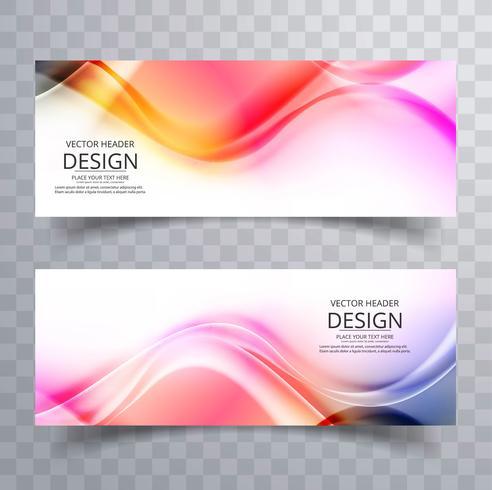 Conception de bannières de vague affaires coloré abstrait vecteur