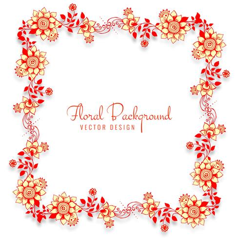 Fond floral belle cadre décoratif de mariage vecteur