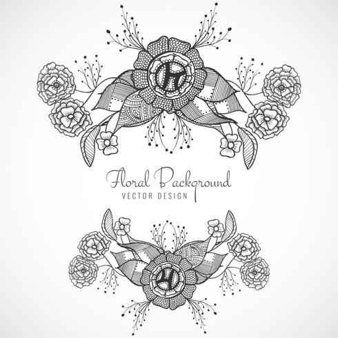 Beau design floral de mariage artistique vecteur