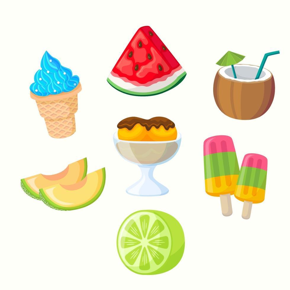 collection d'icônes de nourriture d'été au design plat vecteur