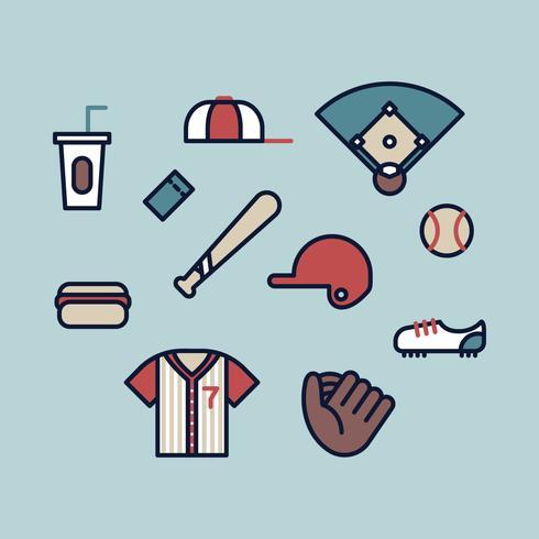 Éléments de baseball vecteur
