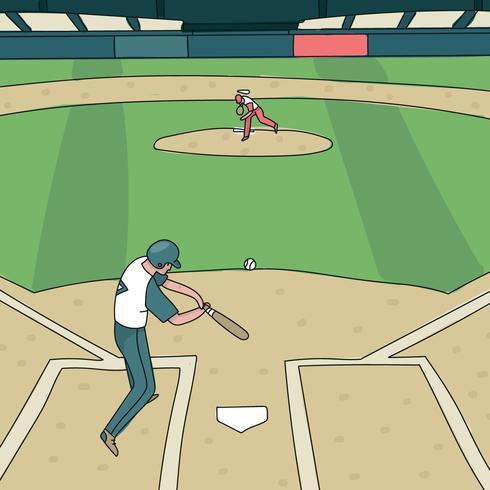 Deux joueurs dans un parc de baseball vecteur