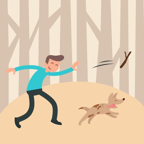 Garçon et son chien vector illustration