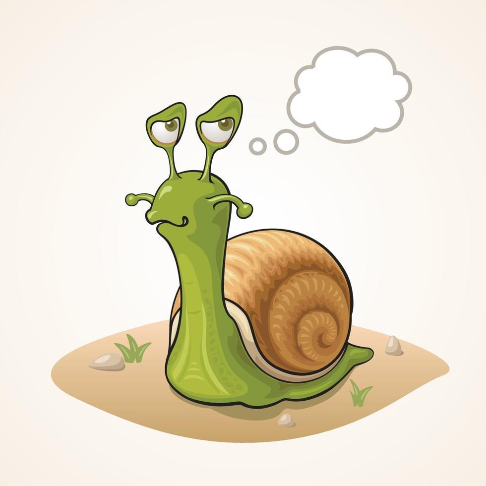 escargot de dessin animé mignon pensant au sol vecteur