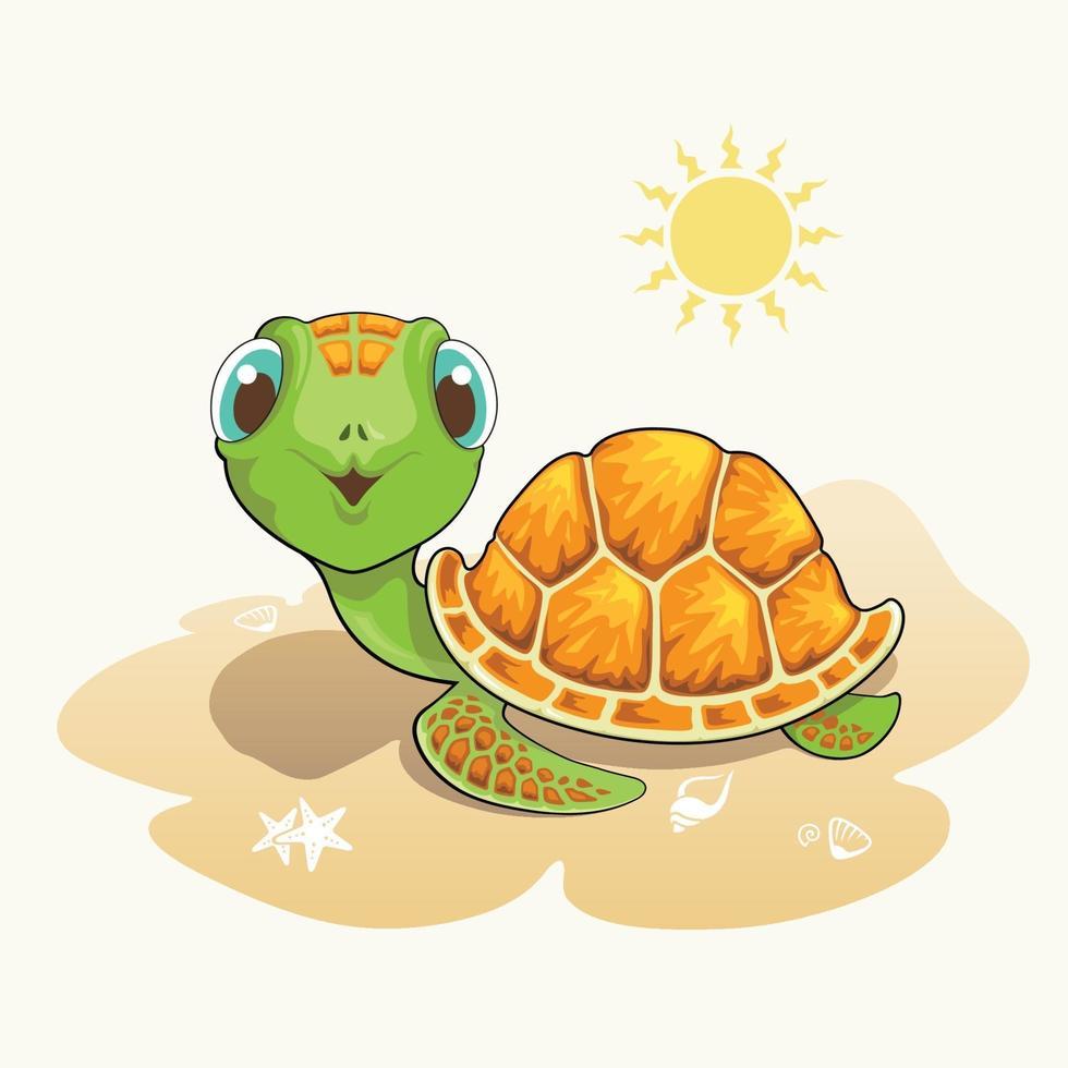 dessin animé mignon tortue sur la plage vecteur