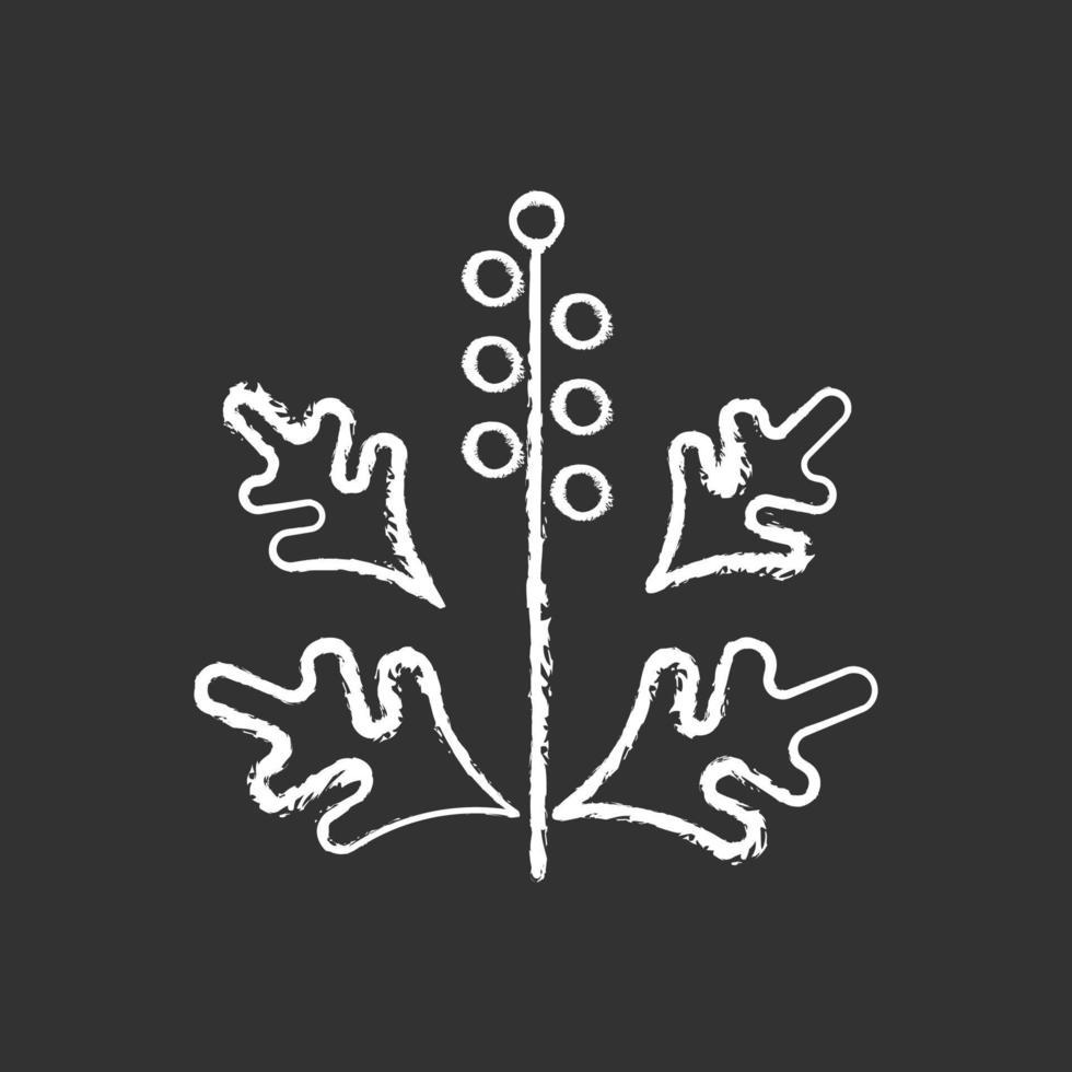 Icône blanche de craie de pollen d'ambroisie sur fond noir vecteur