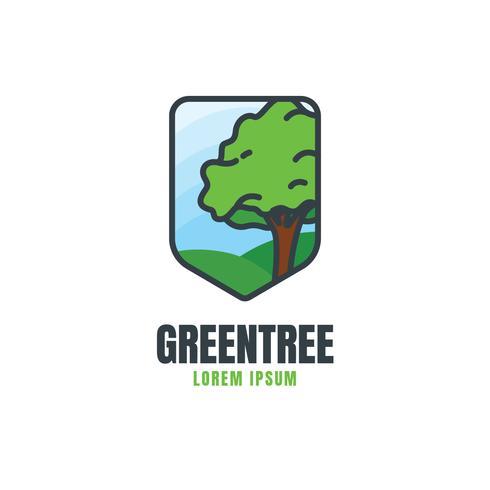 Modèle de logo d'arbre vert vecteur