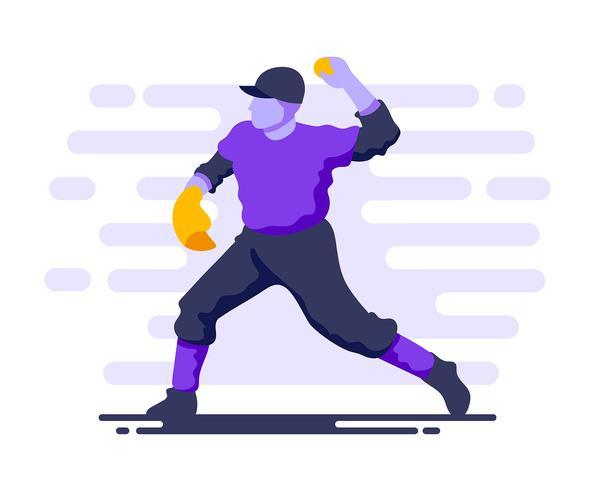 Joueur de baseball en action vecteur