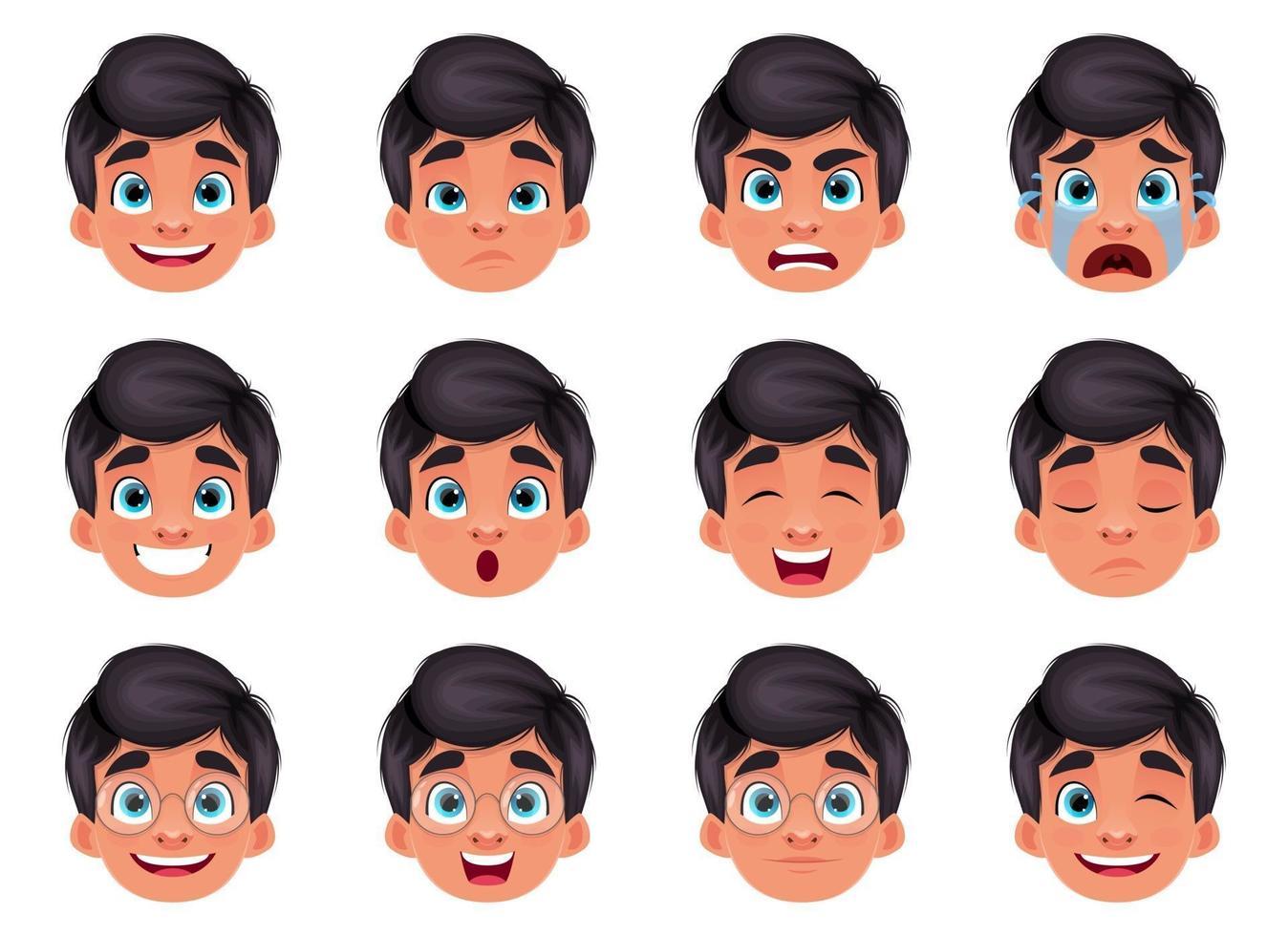 illustration de conception de vecteur expression visage garçon isolé sur fond blanc