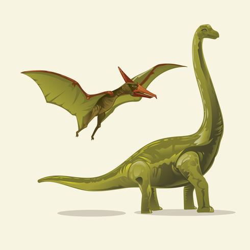 Dinosaures Illustration réaliste Brontosaure et ptérodactyle vecteur