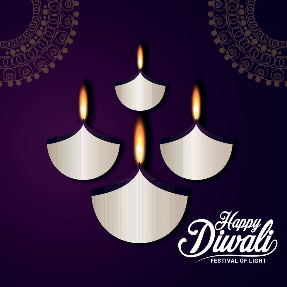 Carte de voeux joyeux diwali célébration avec papier diwali diya sur fond violet vecteur