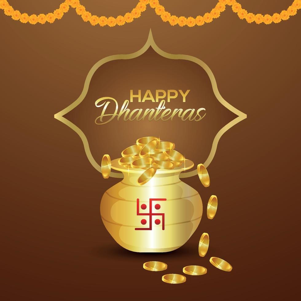 Carte de voeux joyeux dhanteras célébration avec pot de pièces golde sur fond créatif vecteur
