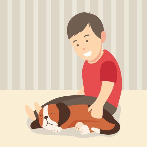 Garçon et son chien endormi vecteur