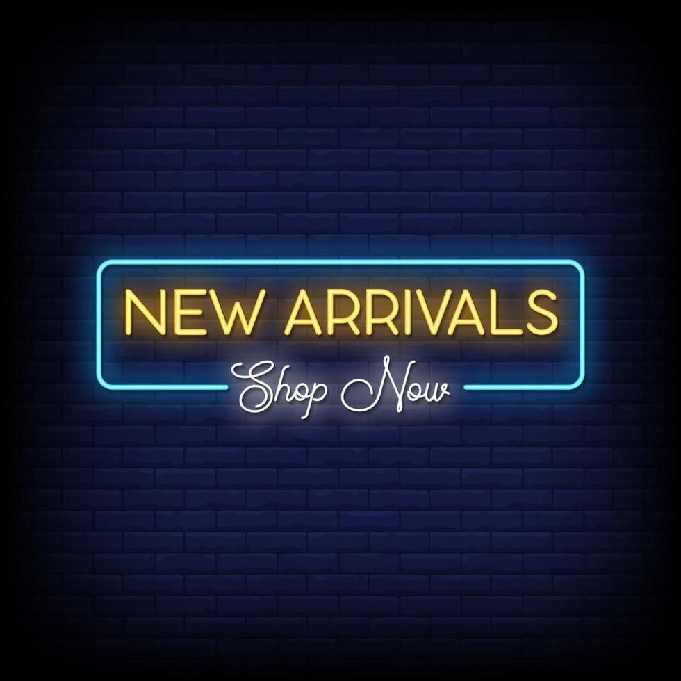 nouveau magasin d'arrivée maintenant vecteur de texte de style enseignes au néon