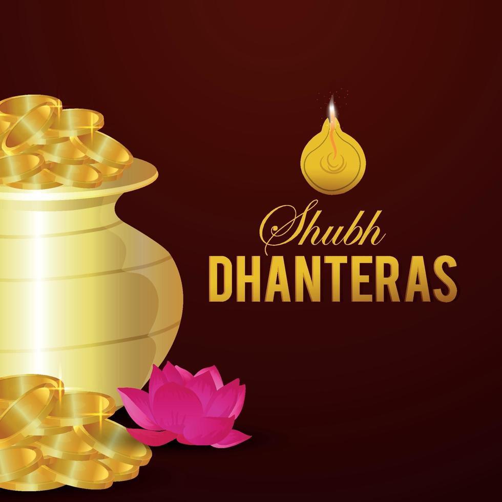 Carte de voeux de célébration de shubh dhanteras avec pot de pièce d'or vecteur