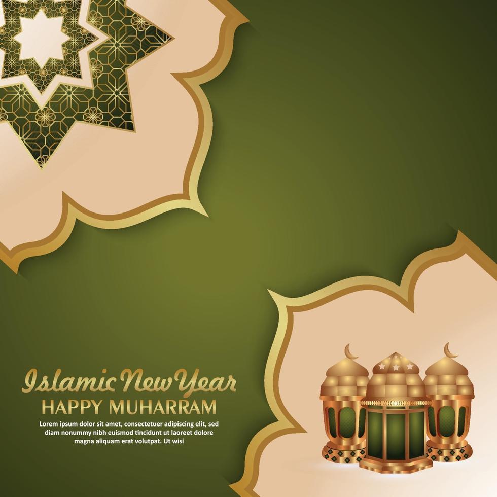 nouvel an islamique joyeux fond de célébration muharram avec lanterne créative vecteur