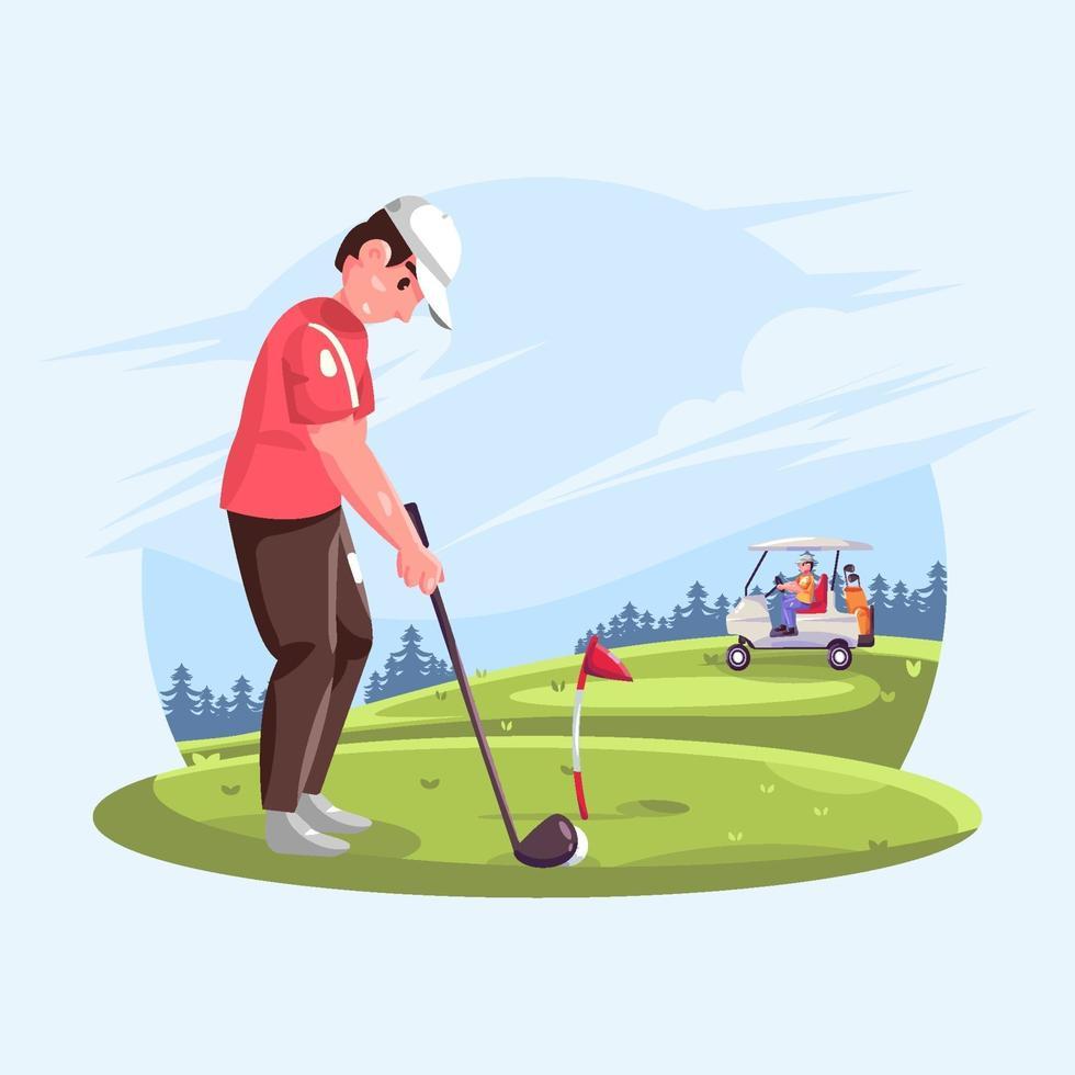 homme jouant au golf sur le parcours vecteur