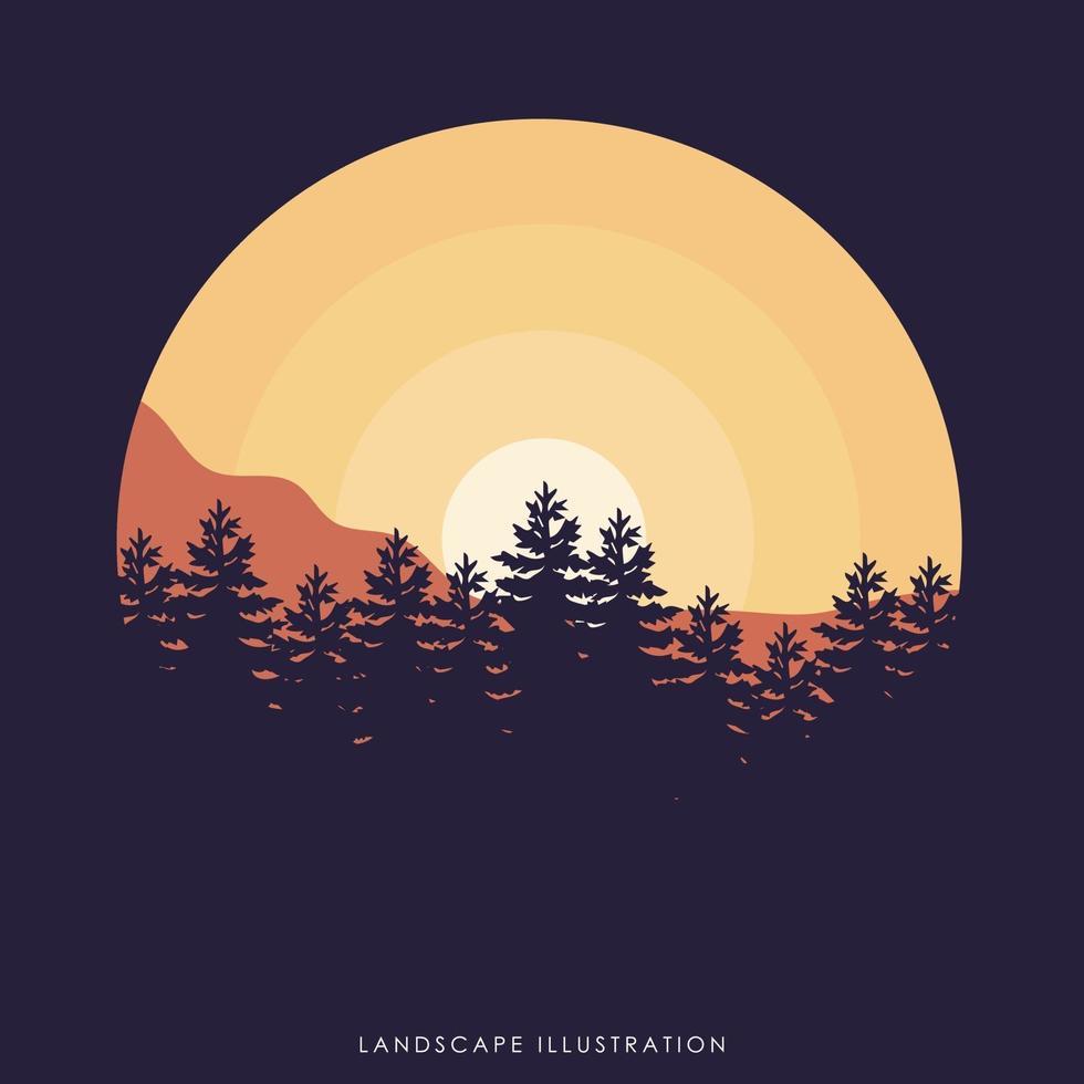 conception d'illustration de paysage vecteur
