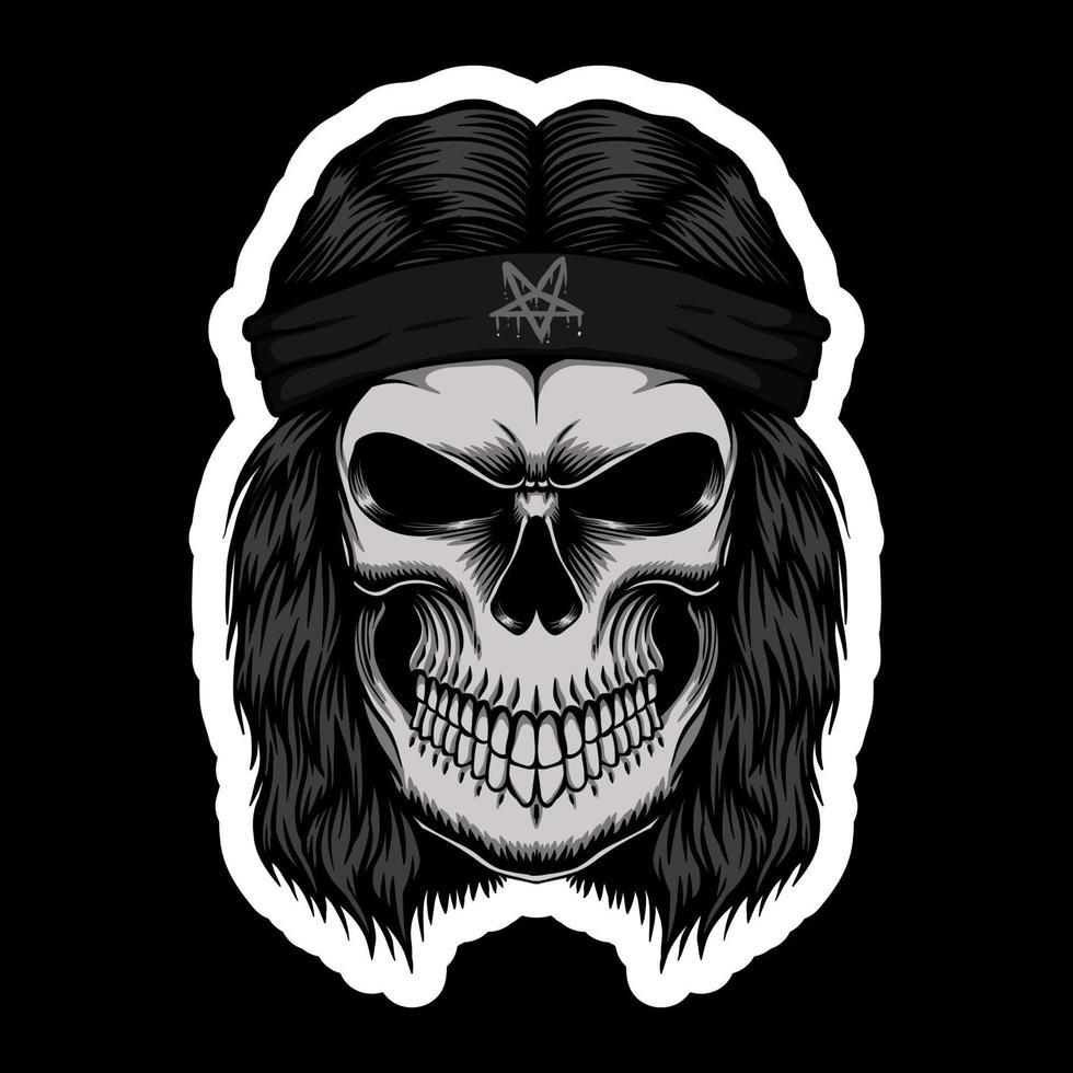 illustration vectorielle de crâne rocker tête autocollants vecteur
