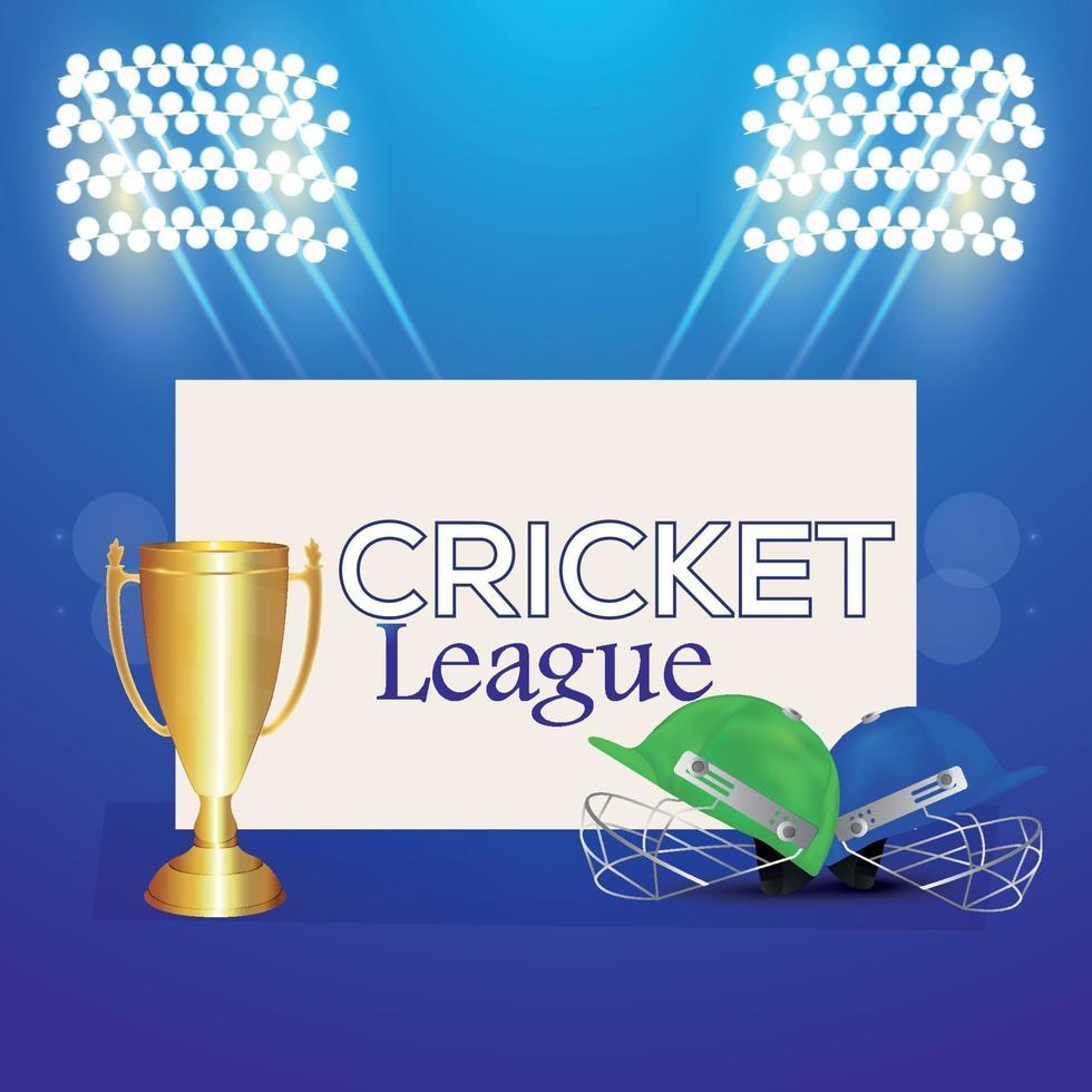 Match de championnat de la ligue de cricket sur fond de stade avec trophée d'or et halmet de cricket vecteur