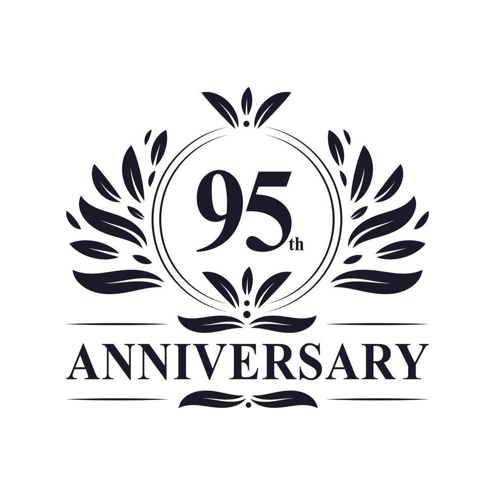 Célébration du 95e anniversaire, création de logo luxueuse de 95 ans. vecteur