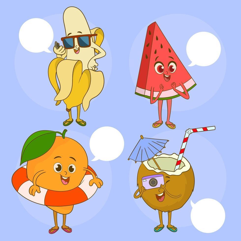 un ensemble d & # 39; illustration de fruits mignons avec des personnages drôles vecteur