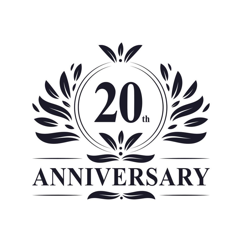 Célébration du 20e anniversaire, création de logo luxueuse de 20 ans. vecteur