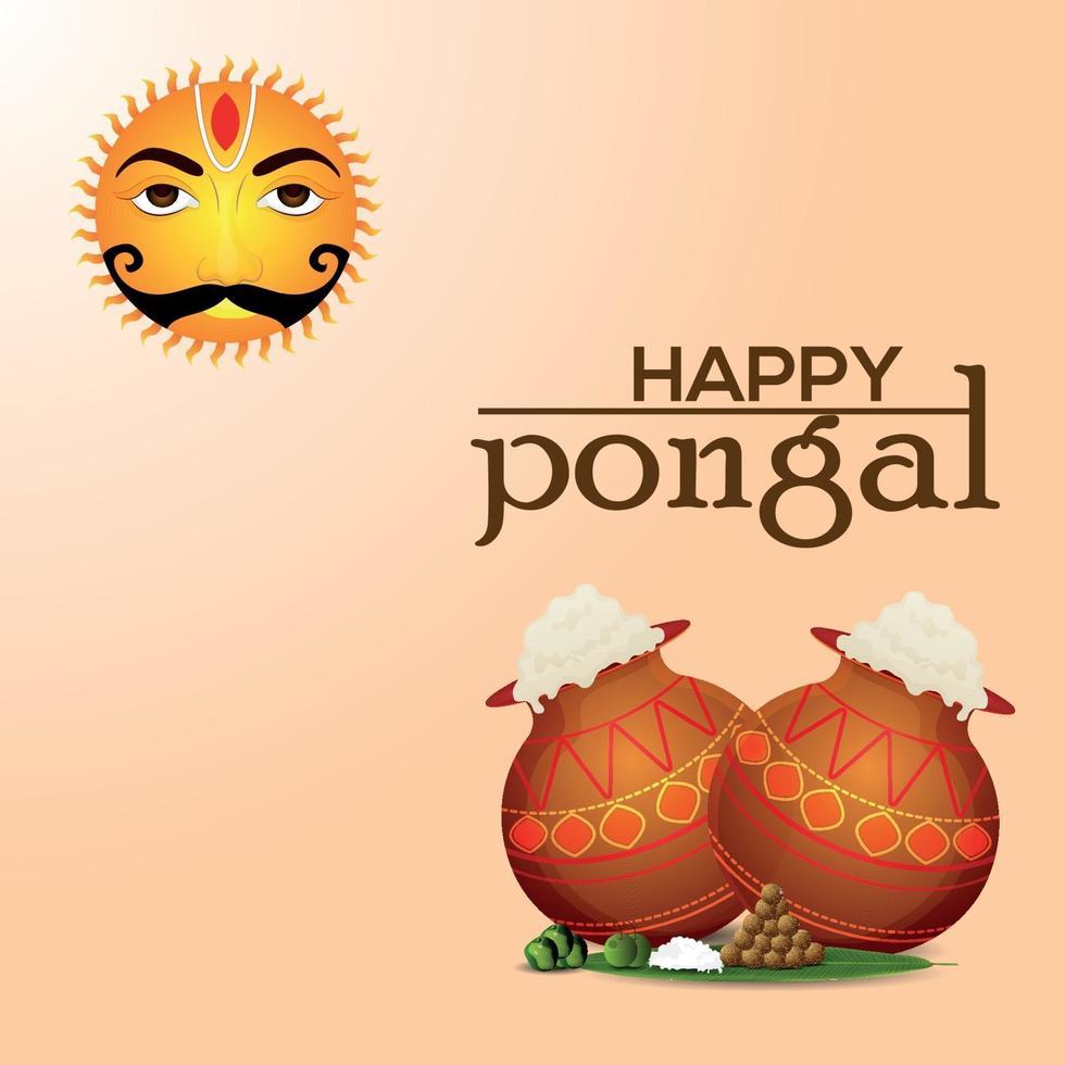 conception de célébration du festival de linde du sud de pongal heureux vecteur