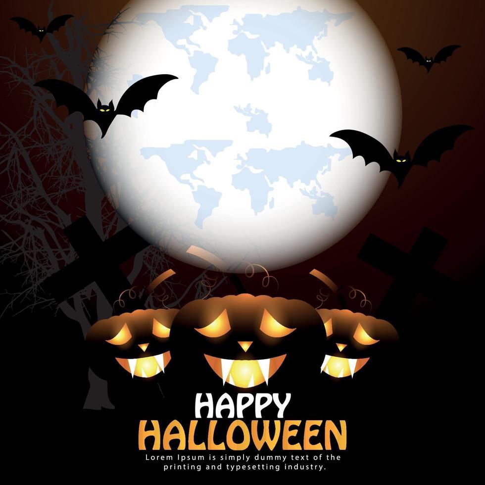 fond d'horreur joyeux halloween nuit avec citrouille rougeoyante, pleine lune et chauves-souris volantes vecteur