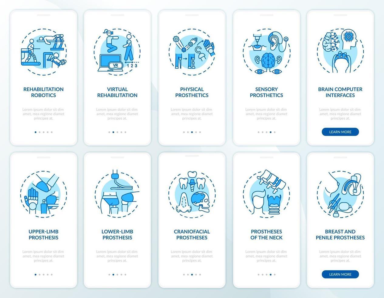 Écran de page de l'application mobile d'intégration de récupération prothétique avec ensemble de concepts vecteur