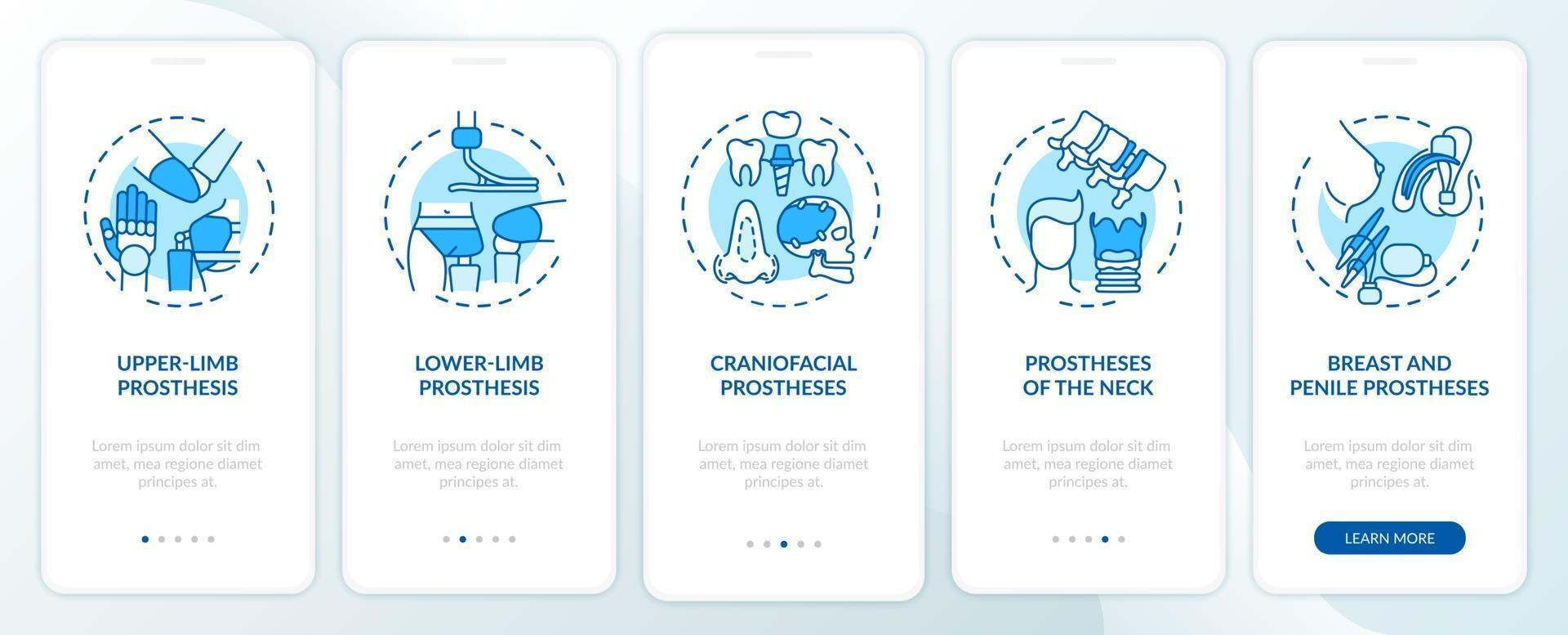 écran de la page de l'application mobile d'intégration des types d'implants avec des concepts vecteur