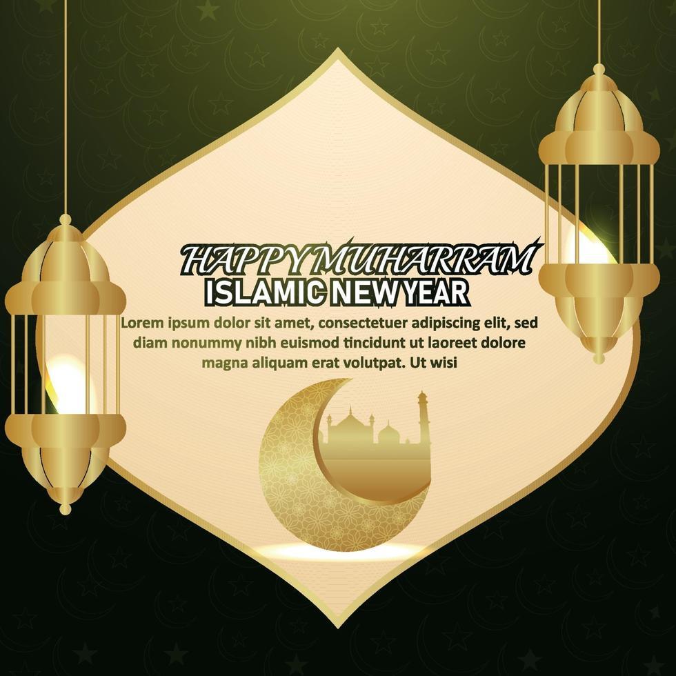Carte de voeux joyeux nouvel an islamique muharram avec lanterne dorée arabe et motif lune dorée vecteur