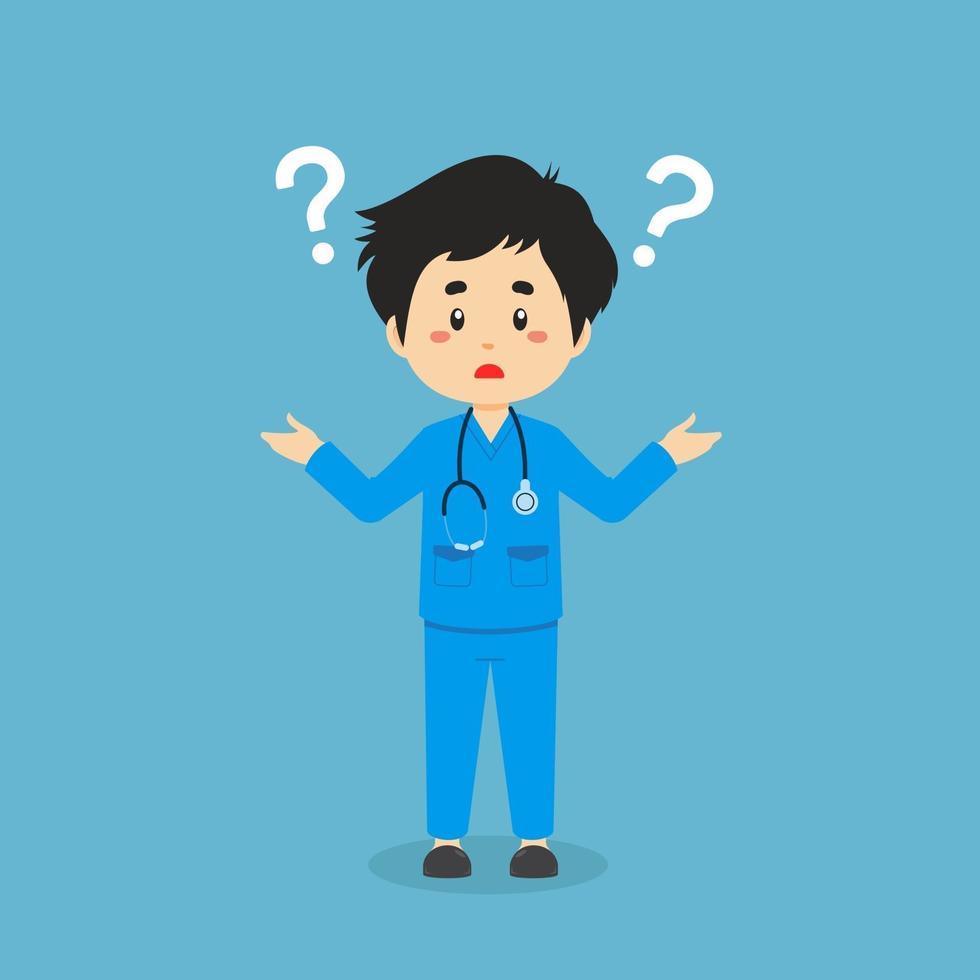 infirmière confuse avec point d'interrogation vecteur