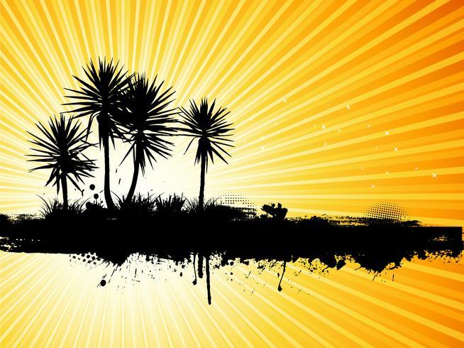 Fond de palmiers grunge vecteur