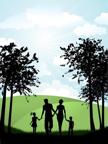 Famille marchant dehors vecteur
