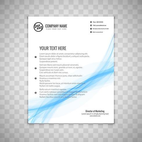 Modèle de brochure moderne ondulé bleu business vecteur