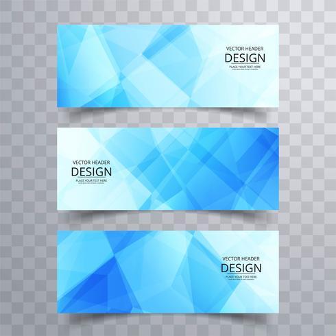 Conception de bannières géométriques bleues modernes vecteur