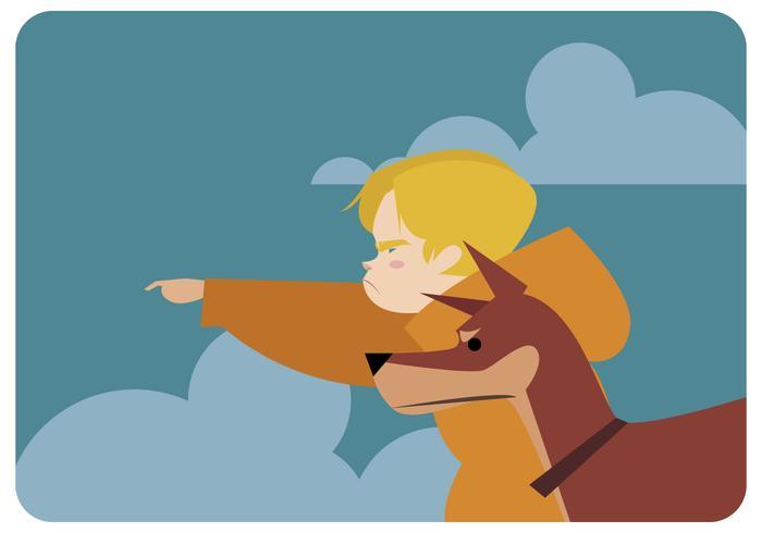 Vecteur de l'aventurier garçon et chien