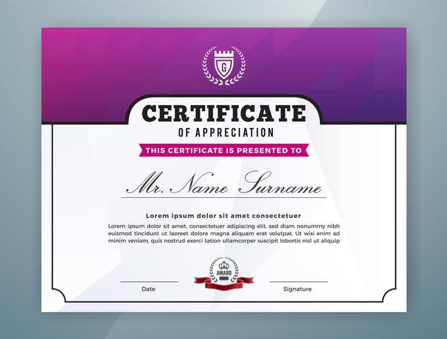 Conception de modèle de certificat professionnel polyvalent vecteur